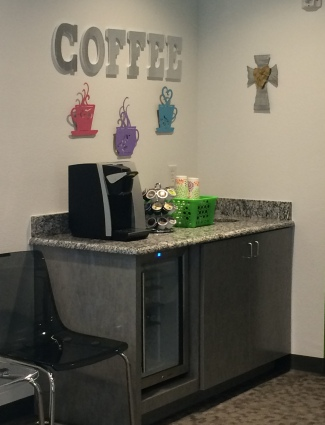 Coffee bar in the office of Pediatric dentist Dr. Jennifer Rutledge in McKinney, TX